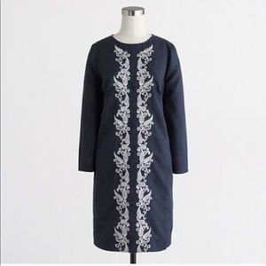 NWT J.Crew linen embroidered front dress s